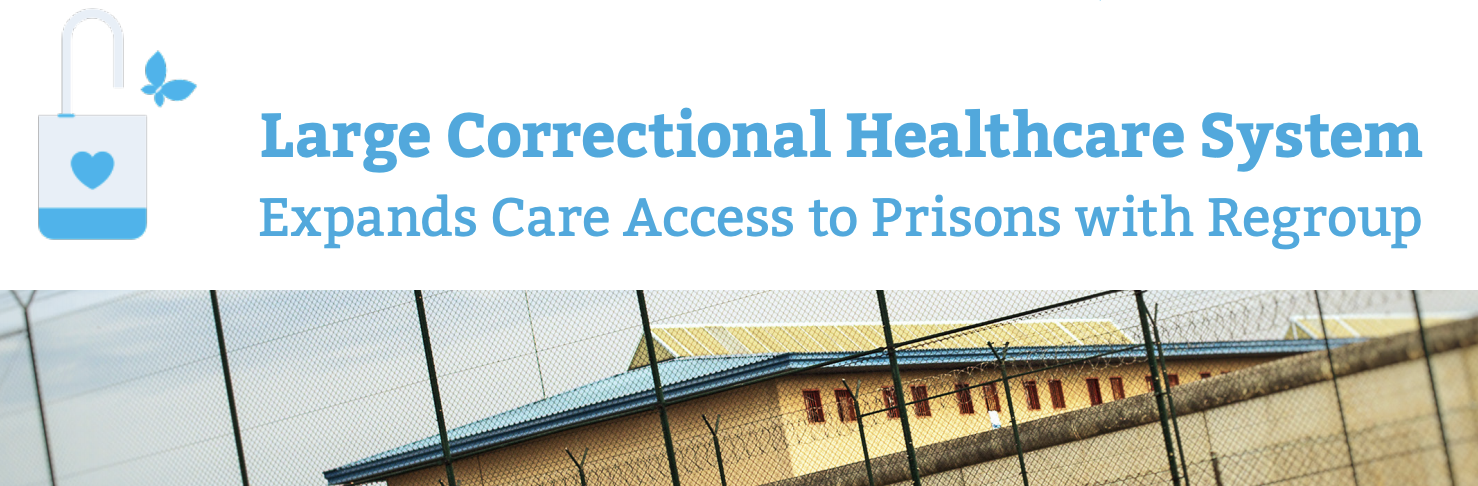 A correctional facility with barbed wire fence is bringing behavioral health to inmates through telehealth, plus a lock, key, and butterfly