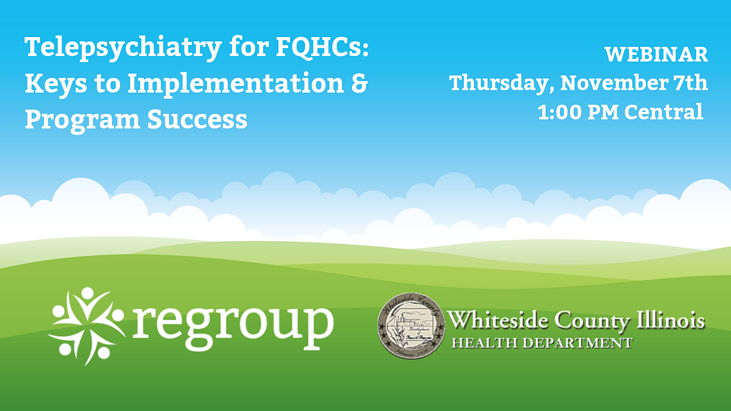 Zoom webinar registration on telepsychiatry in whiteside country illinois with rolling green hills and clouds
